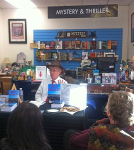Many thanks to Anne Saller of Carnival Books in Orange, Calif. and Debbie Mitsch of Mystery Ink in Huntington Beach for hosting my book signings. Here I'm talking to the group at Mystery Ink.