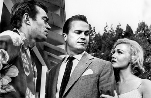 Ralph Meeker, center, with supporting actors Jack Elam and Marian Carr.